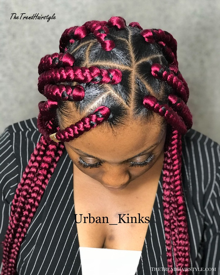 Scarlet Triangle Box Braids With Wrapping Detail 20