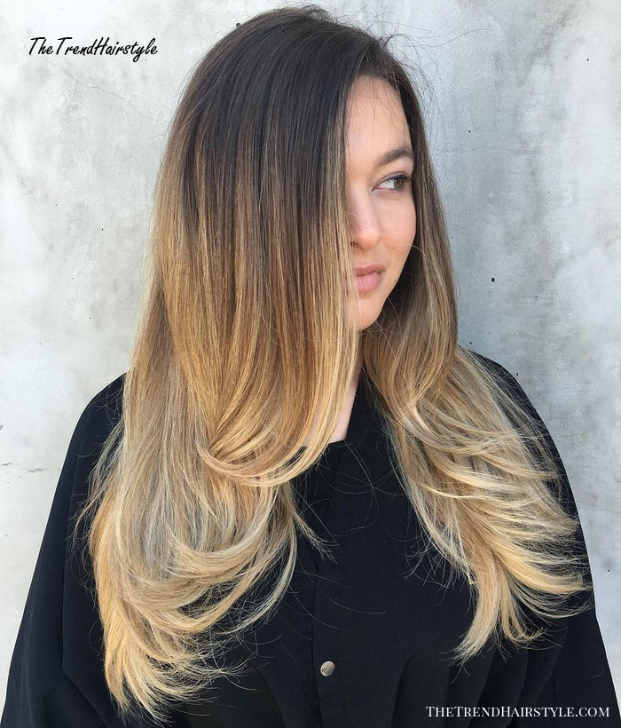 Bronde Ombre With Root Fade