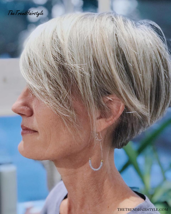 Bronde Tapered Pixie With Bangs