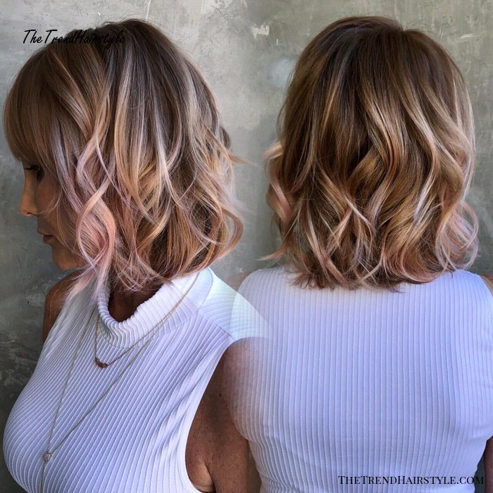 Bronde Wavy Bob With Pastel Pink Highlights