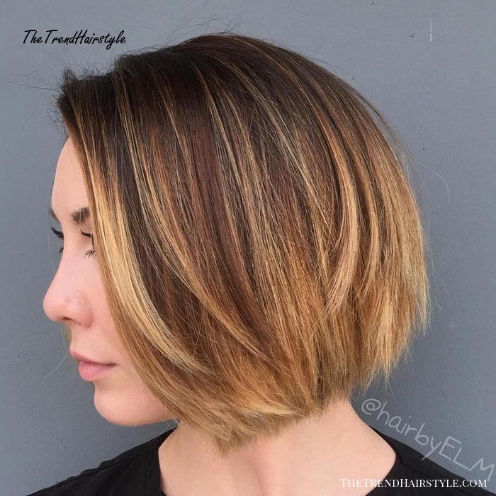Brown Bob With Caramel Ombre Highlights