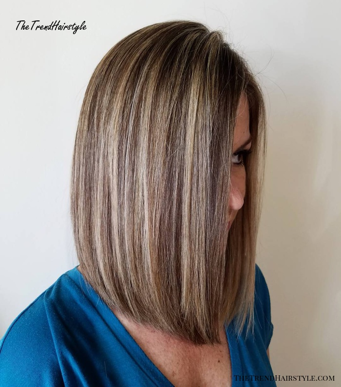 Brown Bob with Blonde Highlights