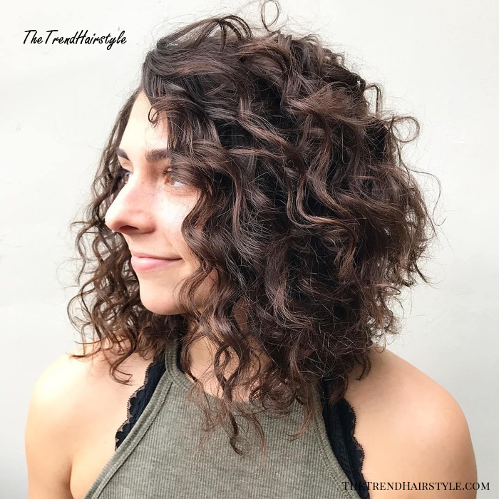 Brown Curly Angled Lob