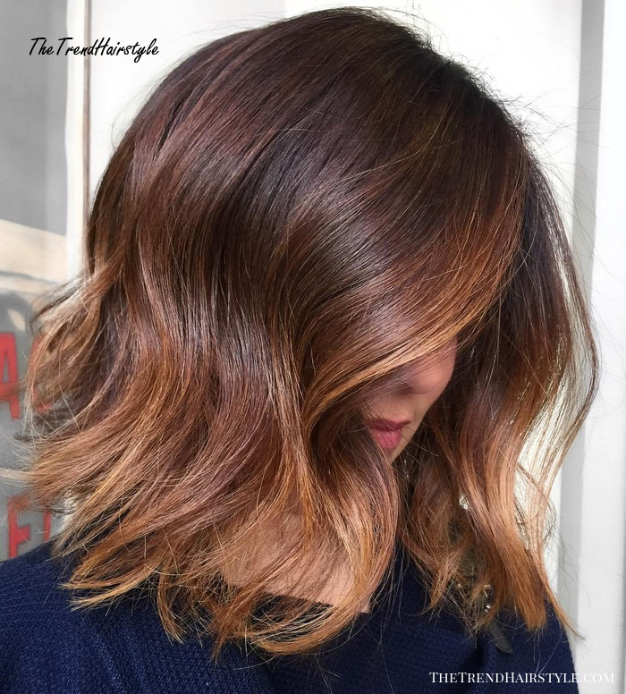 Brown Lob With Caramel Balayage