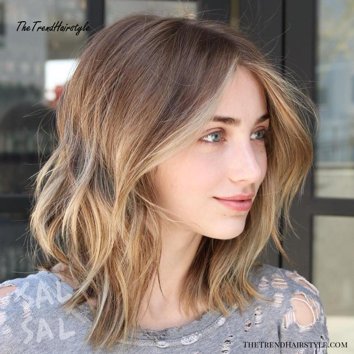 Brown Shaggy Bob With Blonde Highlights