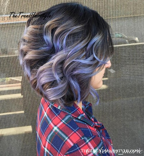 Brown Wavy Bob With Pastel Purple Highlights