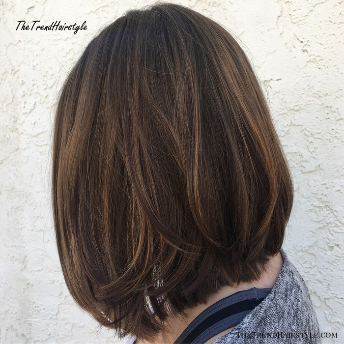Brunette Lob with Long Layers