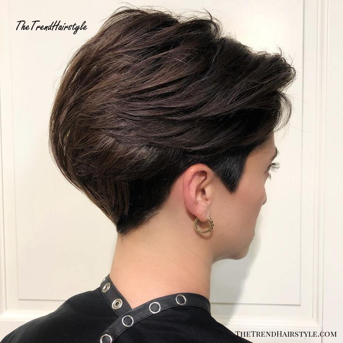 Classy Brunette Pixie With Back Swept Layers Pixie Haircuts For Thick Hair 50 Ideas Of Ideal Short Haircuts The Trending Hairstyle Page 20