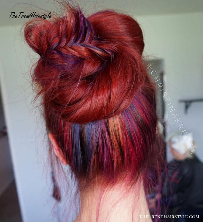 Lo mejor que le puede pasar a una patata [+18][Priv Illje - Claude] Bun-Updo-For-Red-Hair-With-Rainbow-Highlights