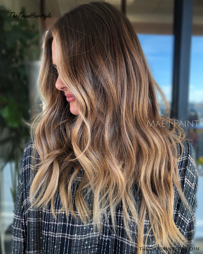 Caramel And Golden Blonde Highlights For Brown Hair