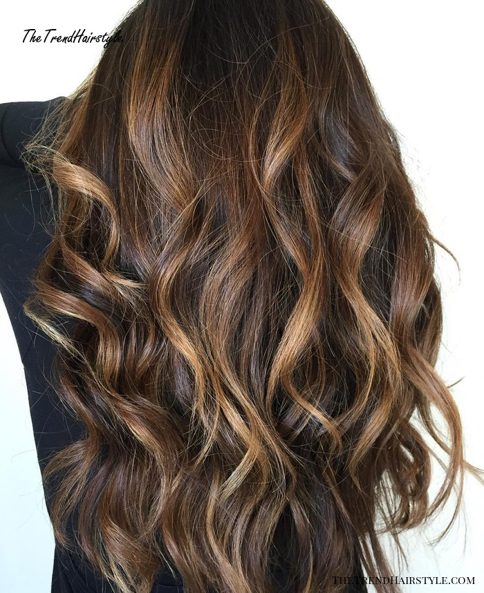 Long Waves With Warm Caramel Balayage 70 Balayage Hair Color Ideas With Blonde Brown And Caramel Highlights The Trending Hairstyle