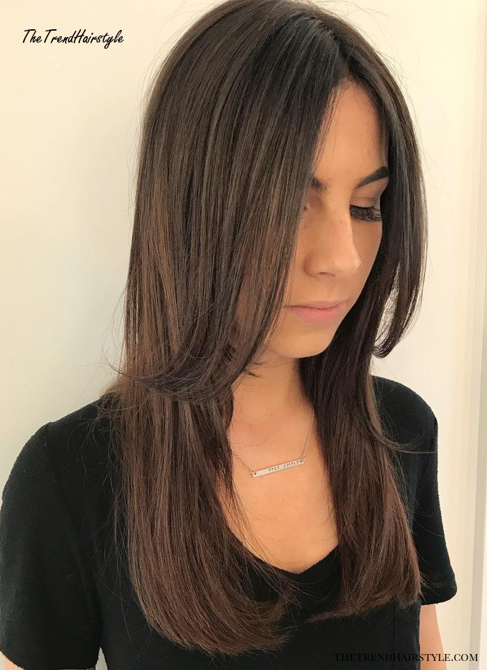 Centre-Parted Layered Cut For Long Hair