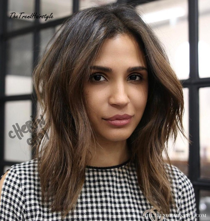 Centre-Parted Layered Tousled Lob