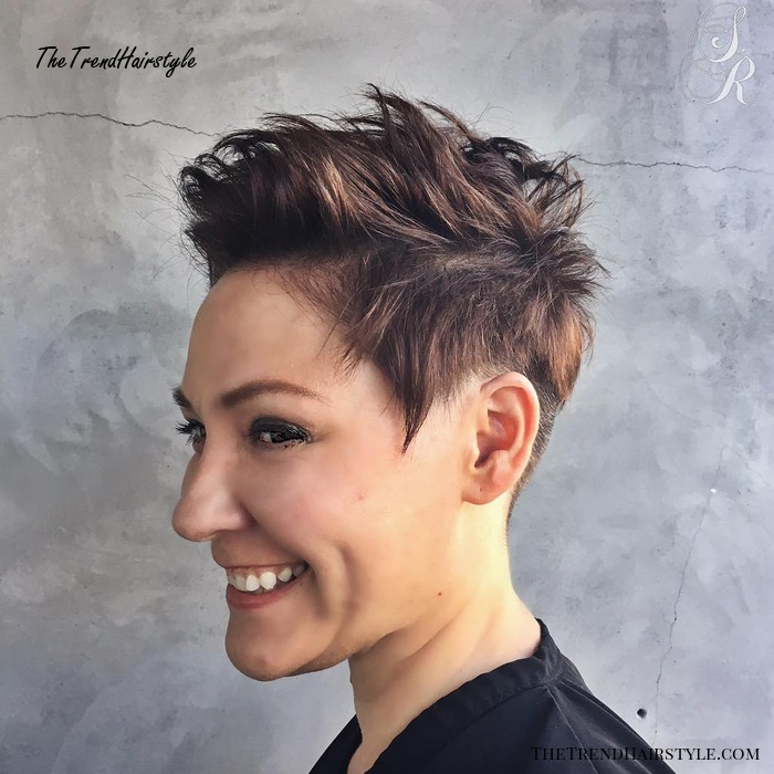Choppy Brunette Pixie With Highlights