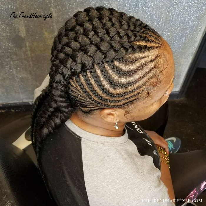 Chunky Mohawk Braids With Side Cornrows