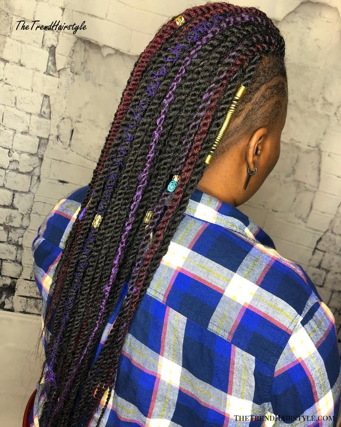 Colorful Twist Braids with Shaved Sides
