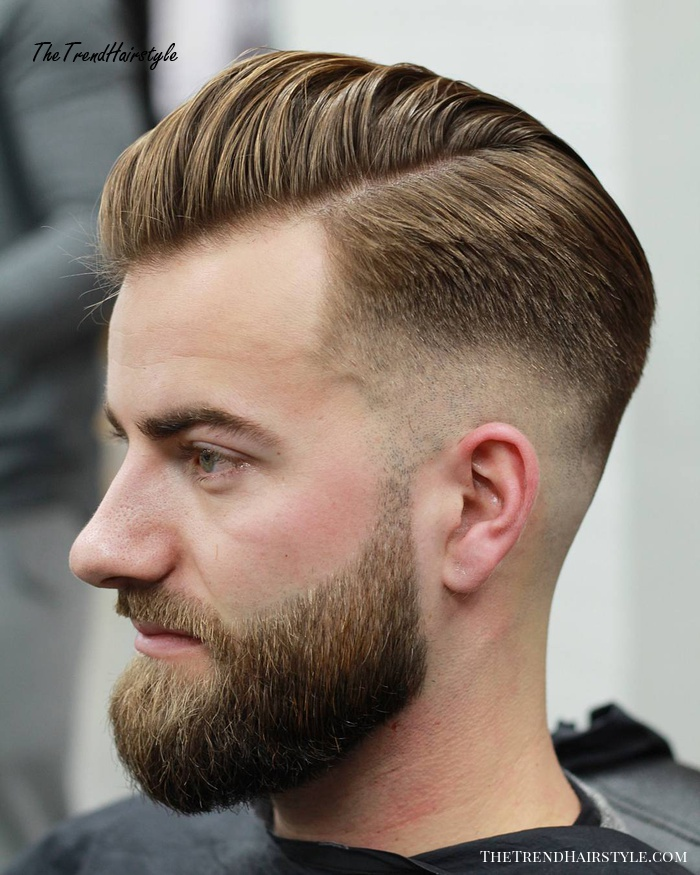 Combover Hairstyle With Fade And Beard