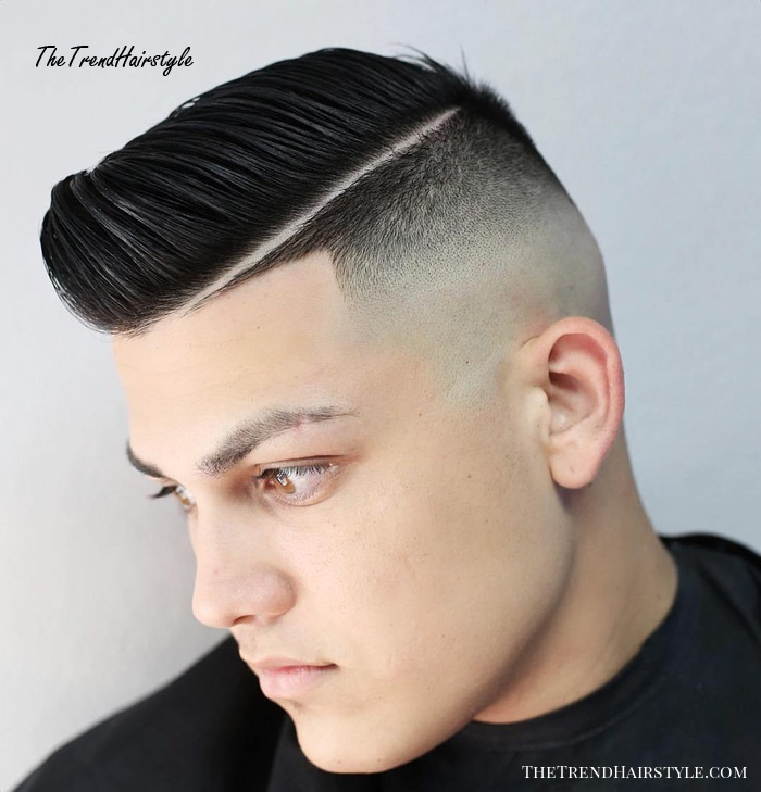 Combover With Shaved Part And Skin Fade
