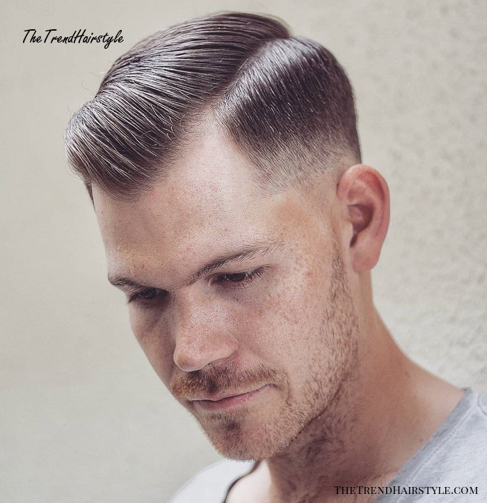 Combover With Taper Fade For Receding Hairline