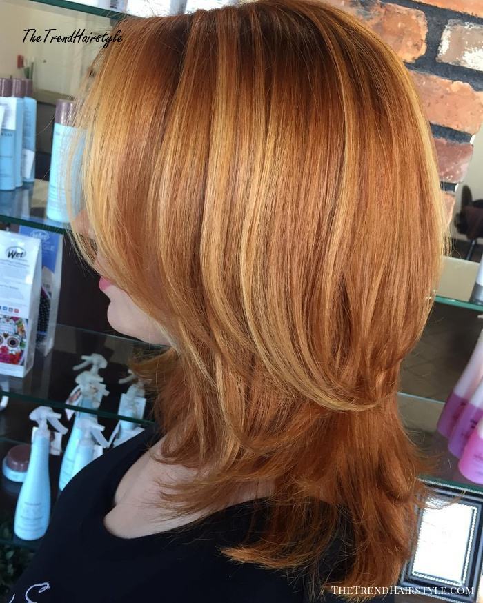 Copper Red Layered Hairstyle