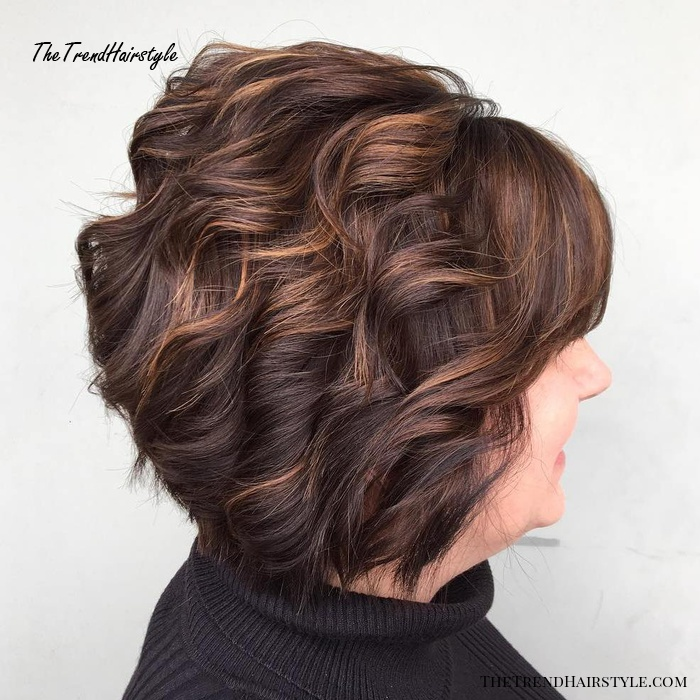 Curled Bob With Bangs