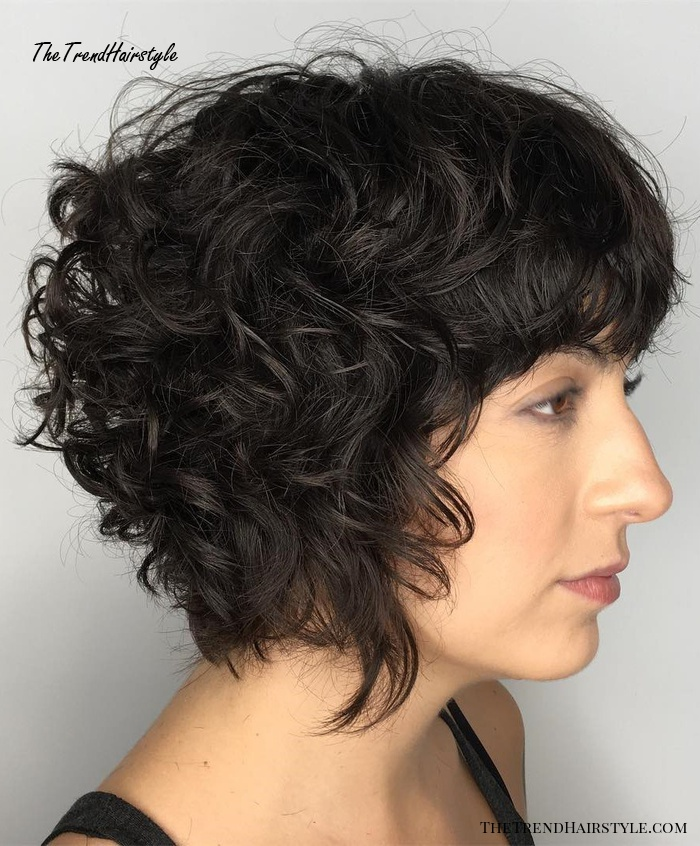 Curly Bob Hairstyle With Bangs