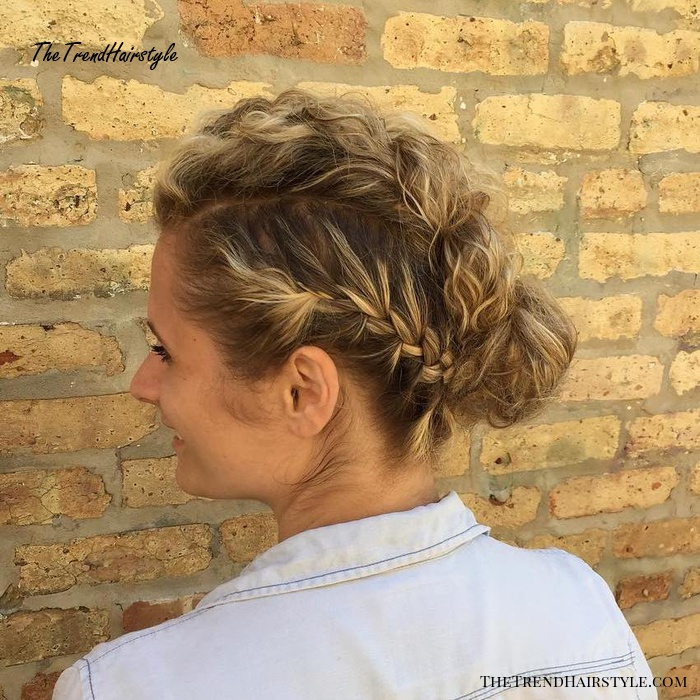Curly Bun With Side Braids