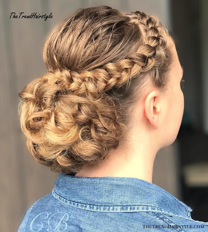 Curly Bun with a Braid