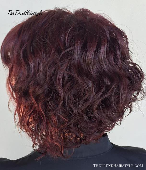 Curly Burgundy Bob