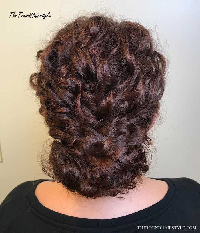 Curly Chignon Updo with Braids