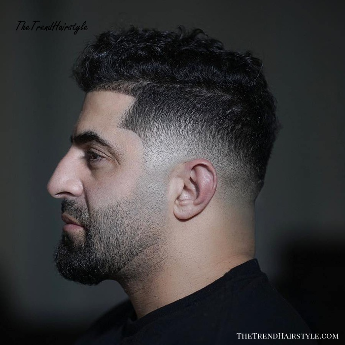 Curly Drop Fade With Line Up