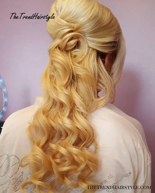 Curly Half Updo For Thick Hair