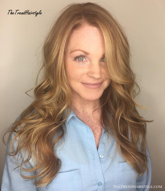Curly Honey Blonde Hairstyle For Long Hair