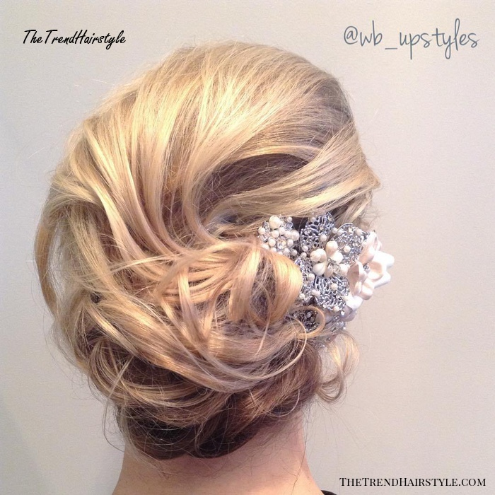 Curly Messy Wedding Updo