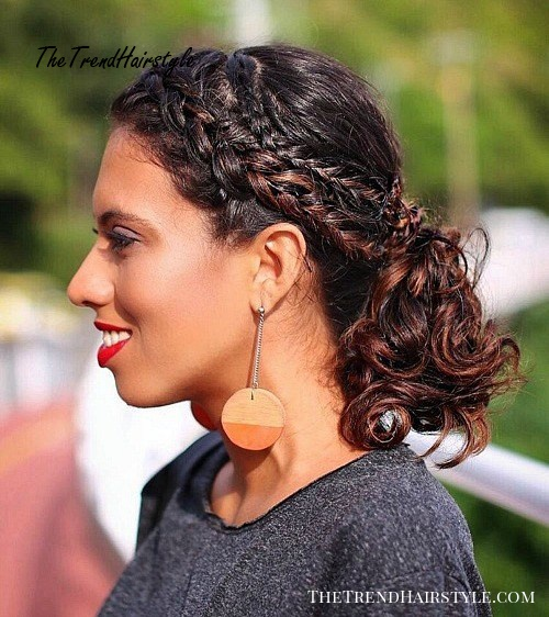 Curly Ponytail with Two Braids