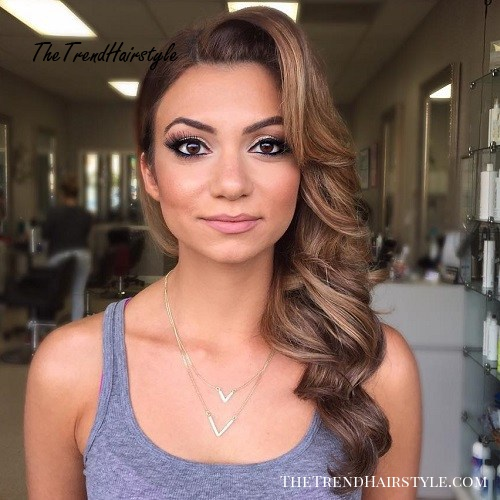 Curly Side Hairstyle For Square Faces