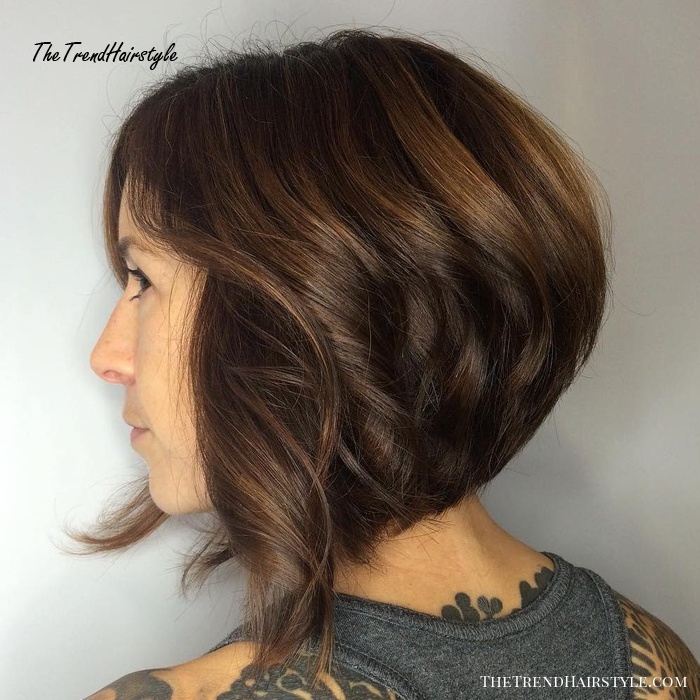 Curly Stacked Brown Bob
