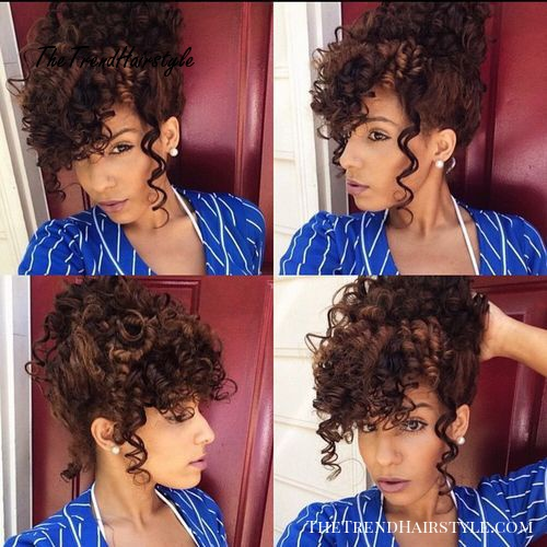 Curly updo with bangs