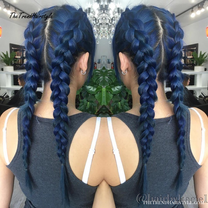 Dark Blue Pigtails