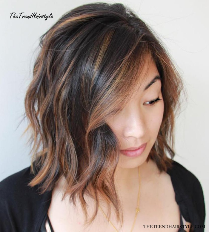 Dark Brown Bob With Caramel Highlights