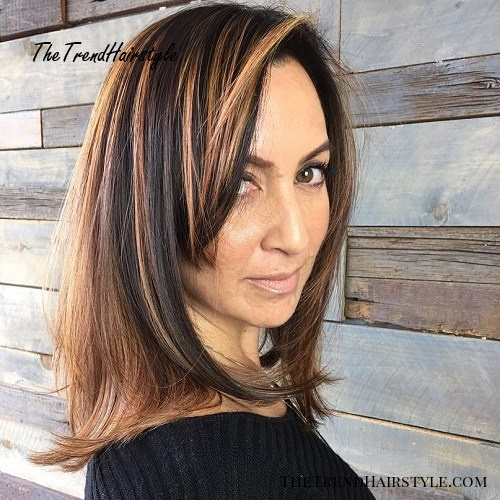 Dark Brown Hairstyle With Caramel Highlights