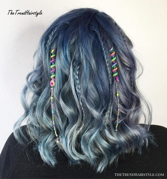 Denim Bob With Spiral Beads