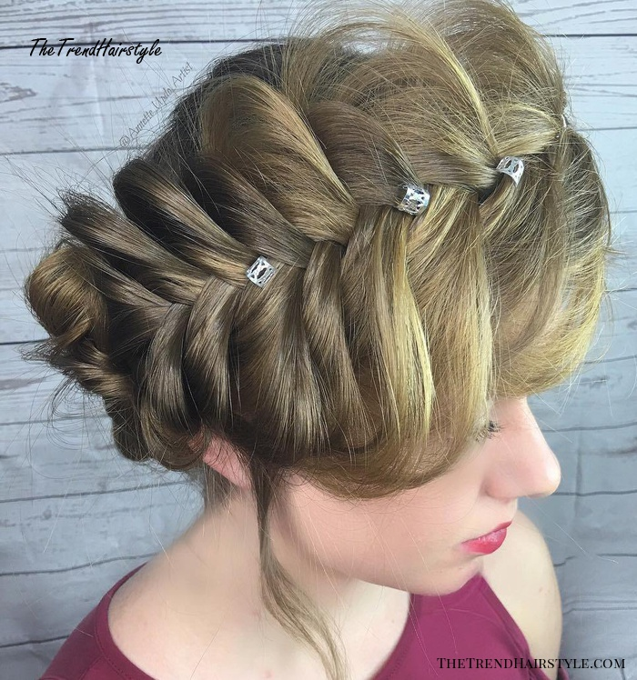Extra Large Fishtail Crown Braid Updo