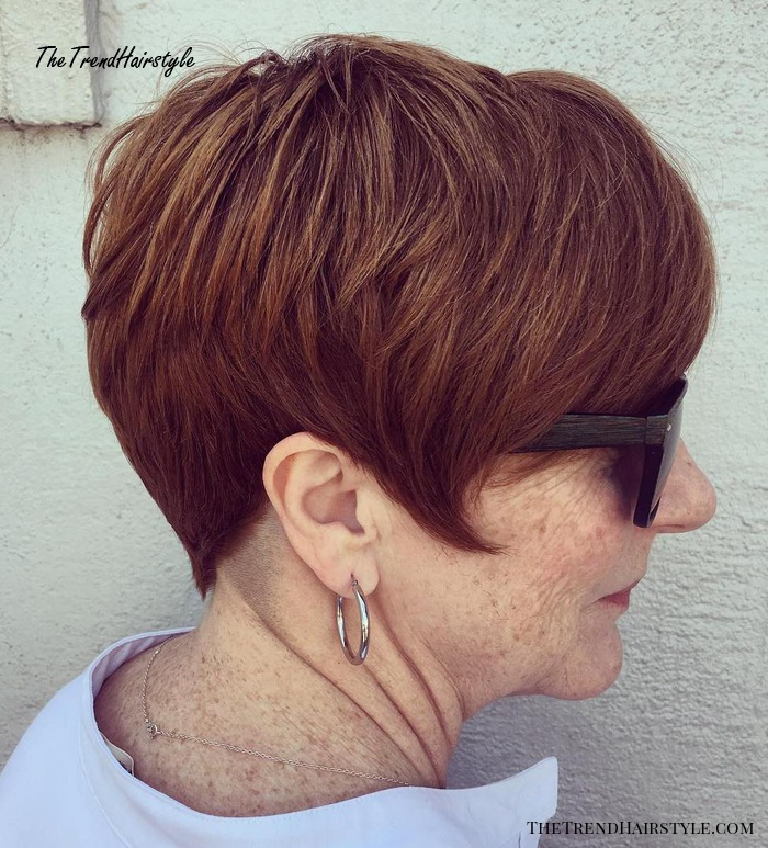 Feathered Auburn Pixie for Older Women