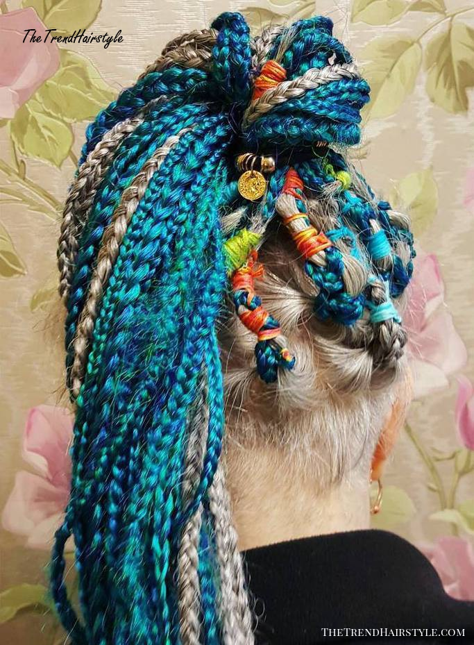 Festive Hairstyle With Colorful Box Braids