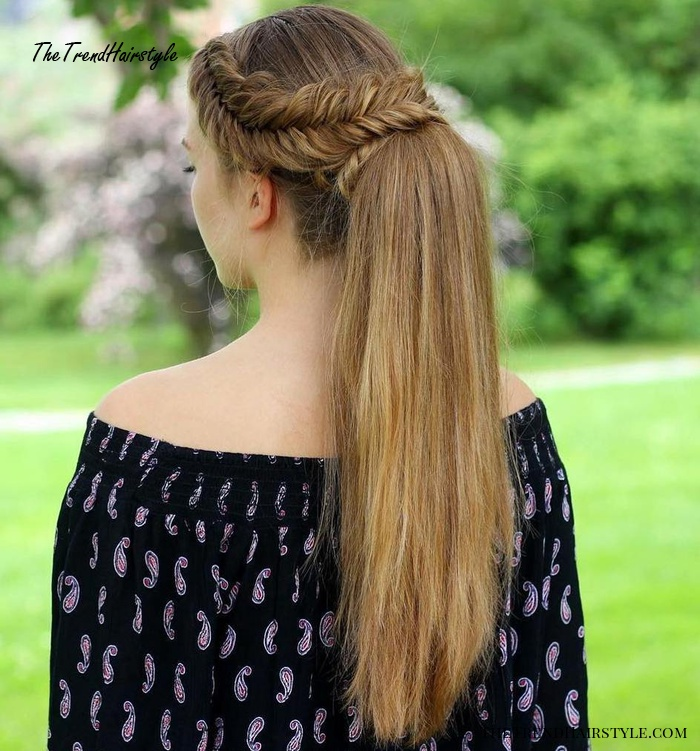 Fishtail Crown Braid And Ponytail