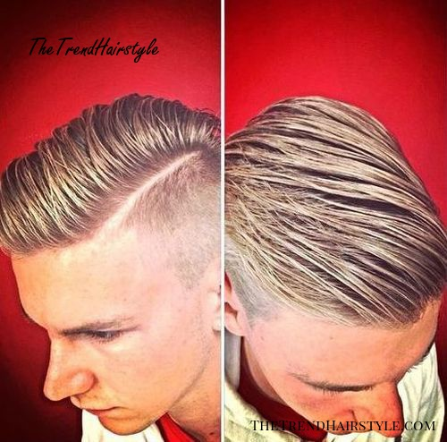 Gelled side parted shaved sides hairstyle for men