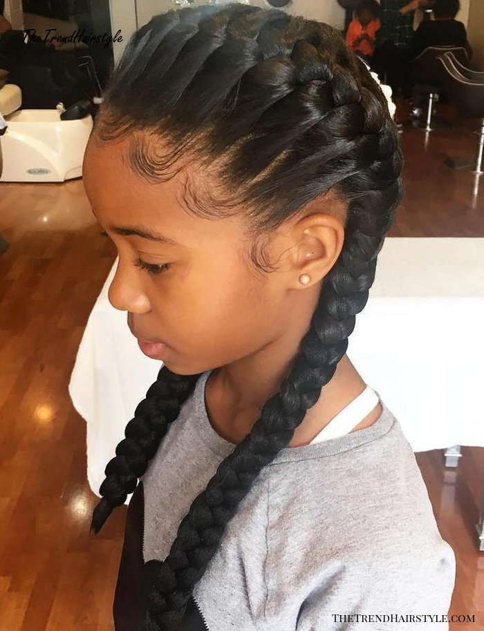 Girl's Crown Braid With Pigtails