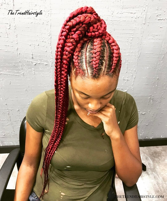 Goddess Braids Ponytail With Pink Extensions