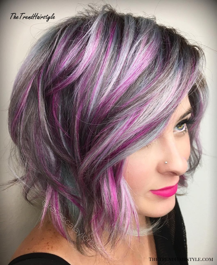 Gray Bob With Purple Highlights